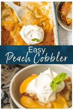 Peach Cobbler is the stuff dreams are made of! This easy Peach Cobbler recipe is so simple and it only has 6 ingredients if you count the whipped cream). Peach Cobbler with Canned Peaches can be made year round and is so full of flavor you'll swear it w Fun Easy Recipes, Cooking Recipes, Dessert Recipes, Sushi Recipes, Baking Desserts, Sweet Desserts, Fruit Recipes, Family Recipes, Cheesecake