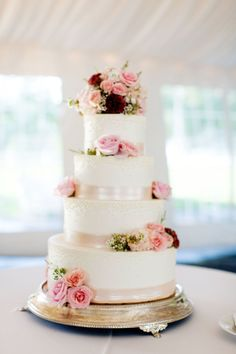 Wedding Cake with Pink Flowers | photography by http://olivialeighweddings.com