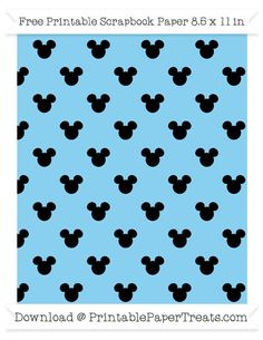 Free Baby Blue Small Mickey Mouse Head Pattern Paper
