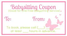 babysitting gift certificate template - 1000 images about printables on pinterest baby sitting