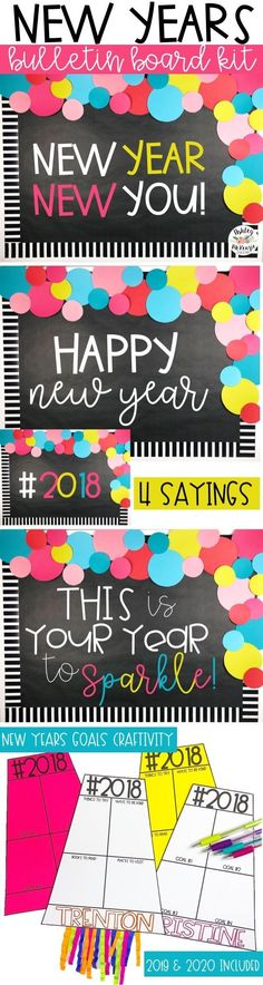 New Years Bulletin Board Kit- 2018 Resolutions Craftivity Included! Makes for a great New years door decor as well!