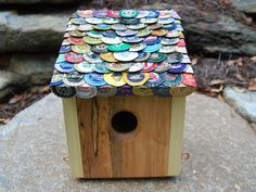 83 Bottles of Beer Birdhouse - another project to do with all the beer caps we have saved.