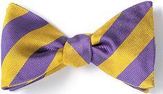 To Shop: http://www.bowtieclub.com/product/140/striped_bow_ties (Wembley/WEM454) #bowties #wedding #weddingdress #menstyle #purple #gold #stripes