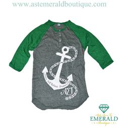 Alpha Sigma Tau Gray + Green Anchor Quatersleeve