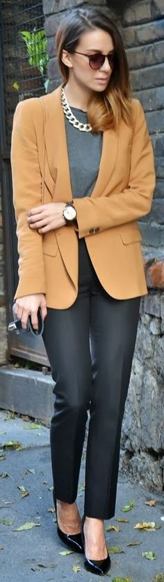 Business casual/professional work outfit: camel blazer, grey tee, black skinnies & heels.