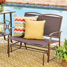 Improvements Metal Sling Double Glider ($75) ❤ liked on Polyvore featuring home, outdoors, patio furniture, 2 seat glider, porch glider, patio glider, outdoor mesh glider, outdoor furniture, metal sling double glider and metal glider bench