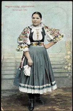 Magyarországi népviseletek. Nyitra megyei leány | Képeslapok | Hungaricana Folk Costume, Costumes, Hungarian Embroidery, Historical Clothing, Folk Clothing, Character Outfits, Traditional Dresses, Vintage Photos, Beautiful People