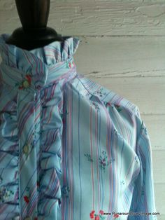 Vintage 1970s Shirt  Baby Blue Ruffle Neck by runaroundsuevintage, $24.00