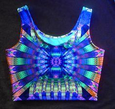 94e99ae3543 Neon dreams fractal blacklight UV crop tank top by FractalGlowSF
