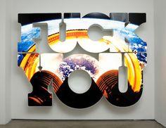 Doug Aitken last blast, 2008 neon lit lightbox, 82 x 110 x 11 inches Creative Landscape, Art And Technology, Neon Lighting, Light Art, American Artists, Installation Art, Word Art, Lovers Art, Art Blog