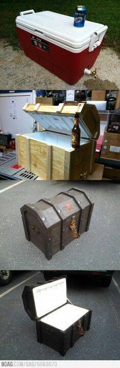 DIY pirates chest cooler.  Love this!