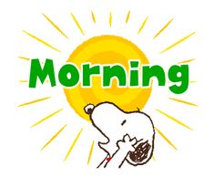 LINE Official Stickers - Snoopy's Supersized Animated Phrases Example with GIF Animation Good Morning Smiley, Good Morning Snoopy, Good Morning Greetings, Good Morning Good Night, Snoopy Images, Snoopy Pictures, Charlie Brown Y Snoopy, Snoopy Quotes, Cartoon Gifs