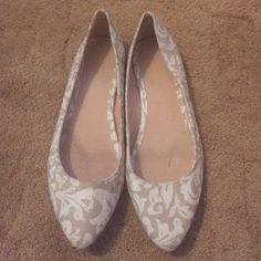Tan & White Flats Very cute tan flats with white design. Have been worn. Decent condition, except for small scuffs & marks.  **Final Sale** Old Navy Shoes Flats & Loafers