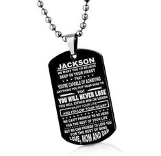Custom Son gift To My Son Pendant Necklace Son Gift From Mom men pendant necklace, gift for son, gifts for him, boy gift Mens Charm necklace Family Holiday, Holiday Gifts, Gifts For Boys, Gifts For Him, Etsy Shipping, Mom And Dad, Dog Tags, Dog Tag Necklace, Beauty Products