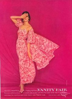 """There are tons of these Vanity Fair lingerie ads around, had no idea that some were photographed by Avedon. via vintageads: """"Vanity Fair 1960 photo by Richard Avedon"""" 1960s Fashion, Pink Fashion, Vintage Fashion, Fashion Outfits, Women's Fashion, Fashion Poses, Pink Vanity, Vintage Vanity, Vintage Mode"""