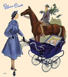 A period pram advertisement from the 1950s, produced by British pram manufacturer Silver Cross, portraying the classic British nanny and a Silver Cross coach-built pram
