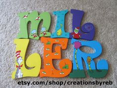 Beautiful wooden Dr. Seuss letters for a nursery or play room. These make great Christmas and baby shower gifts!