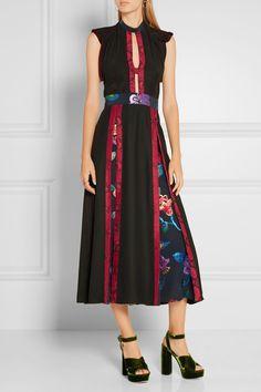 Burberry Prorsum | Cutout printed silk-crepe and metallic fil coupé dress…
