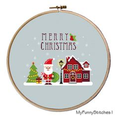 cross stitch christmas ornaments modern by MyFunnyStitches1