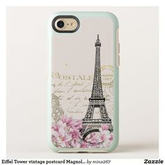 Eiffel Tower vintage postcard Magnolias OtterBox iPhone Case Unique Iphone Cases, Iphone 8 Cases, Iphone Se, Cool Cases, Synthetic Rubber, Magnolias, Tower, Things To Come, Group