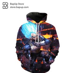 BapUp 2017 Dragon Ball Z  Super Saiyan prince V  3D Printed Hoodies Jacket Sweatshirt Hoodies Pullovers Cartoon Hoodies