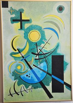 "Framed Wassily Kandinsky Print on Canvas 25"" x 17"" ~1985 Green"