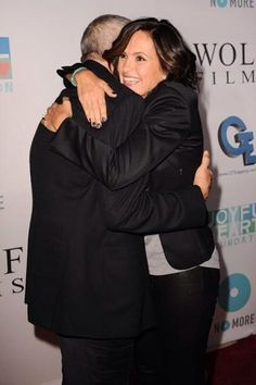 Mariska and I think its Dick Wolf she is hugging.