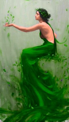 portrait painting of a young women by artist Tim Rees. The oil paintin&; portrait painting of a young women by artist Tim Rees. The oil paintin&; Mean Green, Go Green, Green Colors, Winter Green, Kelly Green, Forest Fairy, Foto Art, Color Of Life, Shades Of Green