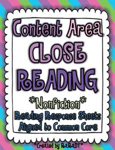 Content Area Reading {Common Core Aligned Nonfiction Reading Response Sheets}