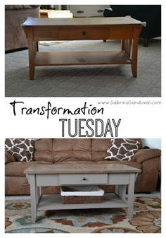 #TransformationTuesday Annie Sloan Chalk Paint to the rescue on this coffee table.