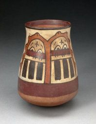 Nazca South coast, Peru, Beaker Depicting Paired Inverted Human Heads, Likely Trophy Heads, 180 B.C- A.D. 500