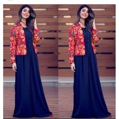 Blue And Red Taffeta Silk Stich Evening Gown with Jacket Shrug For Dresses, Indian Gowns Dresses, Pakistani Dresses, Indian Outfits, Long Dresses, Indian Designer Wear, Designer Gowns, Gown With Jacket, Kurti With Jacket