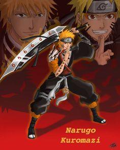 Shinigami Naruto Fusion - Narugo Kuromazi by Naruto Shippuden Sasuke, Anime Naruto, Naruto Fan Art, Naruto Cute, Rukia Bleach, Bleach Art, Bleach Manga, Anime Toon, Otaku Anime