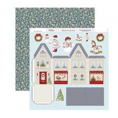 Papel scrap con una tienda de juguetes recortable para postal 3D navideña #scrap #conideade #manualidades Ginger House, House Template, Advent Calendar, Scrapbook, Templates, 3d, Holiday Decor, Christmas, Houses