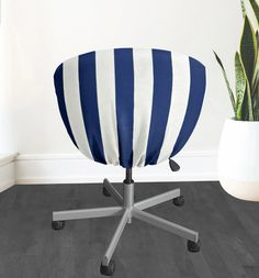 IKEA SKRUVSTA Chair Slip Cover, Navy Blue Cabana Stripe | affordable, designer, custom, handmade, trendy, fashionable, locally made, high quality