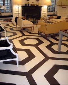 painted concrete floor--big greek key or greek key border??