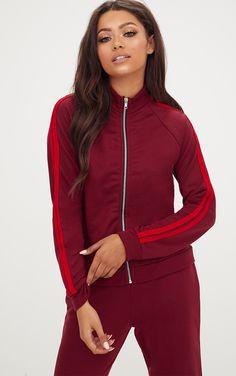 Burgundy Contrast Stripe Runner Jacket