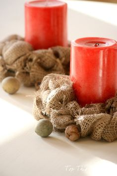 Mini burlap wreaths or can use as candle wraps. Love this for a fall project!