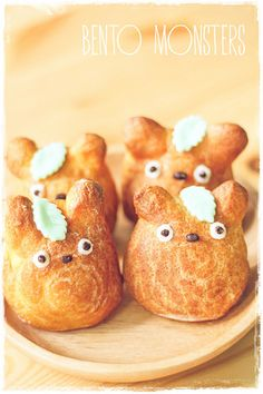 Bento, Monsters: Totoro Cream Puff--- kinda feel like this is super fake. Pate choux doesn't work like that hahahaha silly