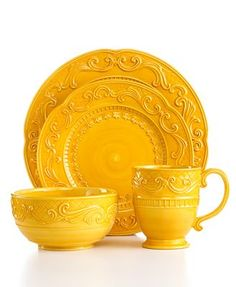 Fitz and Floyd Dinnerware, Ricamo Gold 4 Piece Place Setting