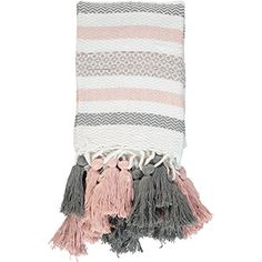 Grey & Pink Stripe Tassel Throw