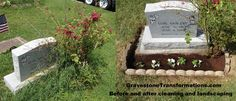 Gravestone Transformations Browns Chapel - Lois Eby   Don't let plant life take over your ancestor's memorials.   Organic life can decay monuments with their acid secretions.   Contact us today for help with cleaning or repairing your ancestor's memorial.   We also provide landscaping, decoration, photography and location services!