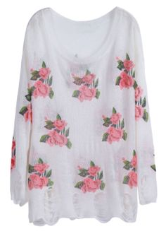 White Long Sleeve Hollow Flowers Pattern Sweater cute and comfy. I'd wear it.