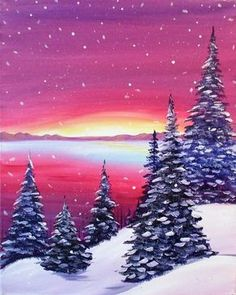 Snowy Sunrise painting, pink sky and snow covered trees beginner canvas painting.