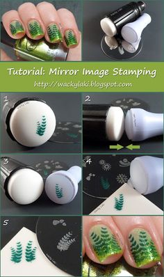 Nail Art Tutorial - Flip your nail stamps for more versatility using the Mirror Image Stamping technique! By Wacky Laki Nagel Stamping, Stamping Nail Art, Stamping Plates, Great Nails, Love Nails, Fancy Nails, Diy Nails, How To Make Mirror, Nail Art Designs