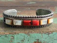 Vintage SouthWest Cuff Bracelet Cast Sterling Silver Coral and Mother of Pearl by Holliezhobbiez on Etsy