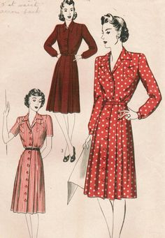 1940s Hollywood 767 Vintage Sewing Pattern Missees' One-Piece Dress Size 16 Bust…