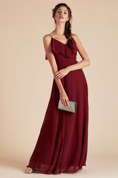 Under 100 Birdy Grey Burgundy Gowns Jane Convertible Bridesmaid Dress In With Ruffles Chiffon And Cold Shoulder By
