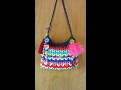 #Crochet Crazy Scrap Yarn Bag with Puffed V Stitch #TUTORIAL DIY FREE CROCHET HANDBAG - YouTube