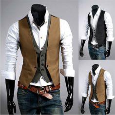 Neue gentleman Britischen stil männer kleid weste Falsche Zwei stück Weste Muster V-ausschnitt Stil Weste Slim Fit für Männer Jungen